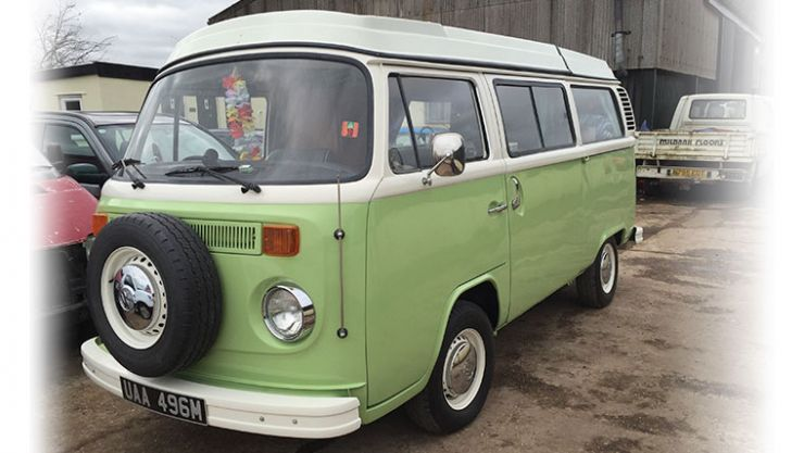 Lime green VW van restoration